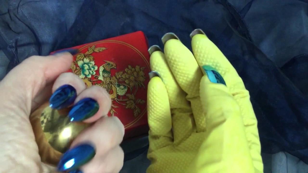 Rubber Glove🔷 LONG METALLIC NAILS🔴ゴム手袋🔴 Tapping&Scratching ...