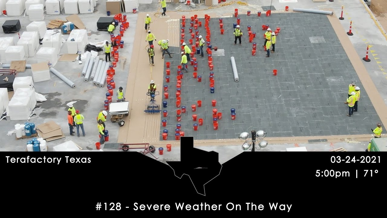 Tesla Terafactory Texas Update #128 in 4K: Severe Storms On The Way - 03/24/21 (5:00pm   71°F)