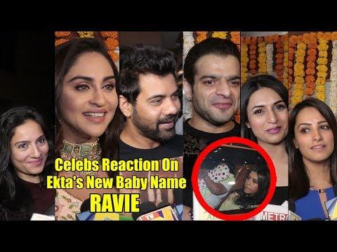 Celebrities Reaction On Ekta Kapoor Baby Name RAVIE | Karan, Divyanka, Anita, Krystal Mp3
