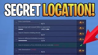 SEARCH BETWEEN A POOL, WINDMILL AND AN UMBRELLA SECRET LOCATION - Fortnite Battle Royale