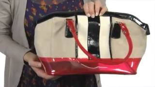 melie bianco ruby canvas satchel with contrast stripes and clear jelly trim sku 8084973