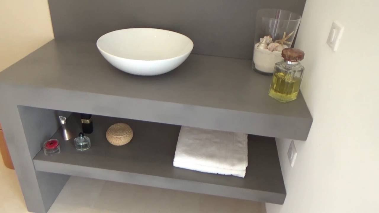 meuble de salle de bain design en b ton cir atlantic bain youtube. Black Bedroom Furniture Sets. Home Design Ideas