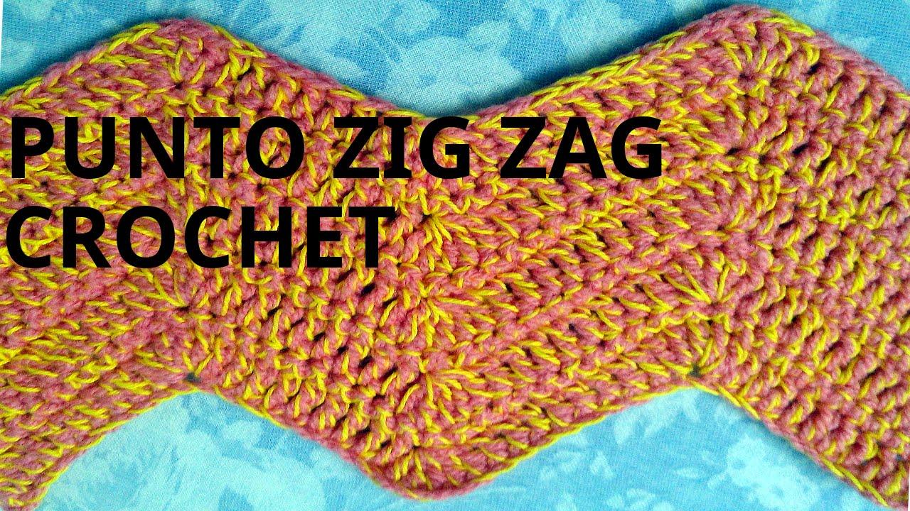 Punto ZIG ZAG en tejido crochet o ganchillo tutorial paso a paso ...