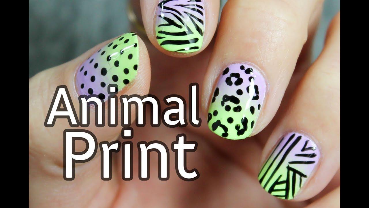 Dise o de u as con estampado animal cebra y leopardo - Dibujos unas de porcelana ...