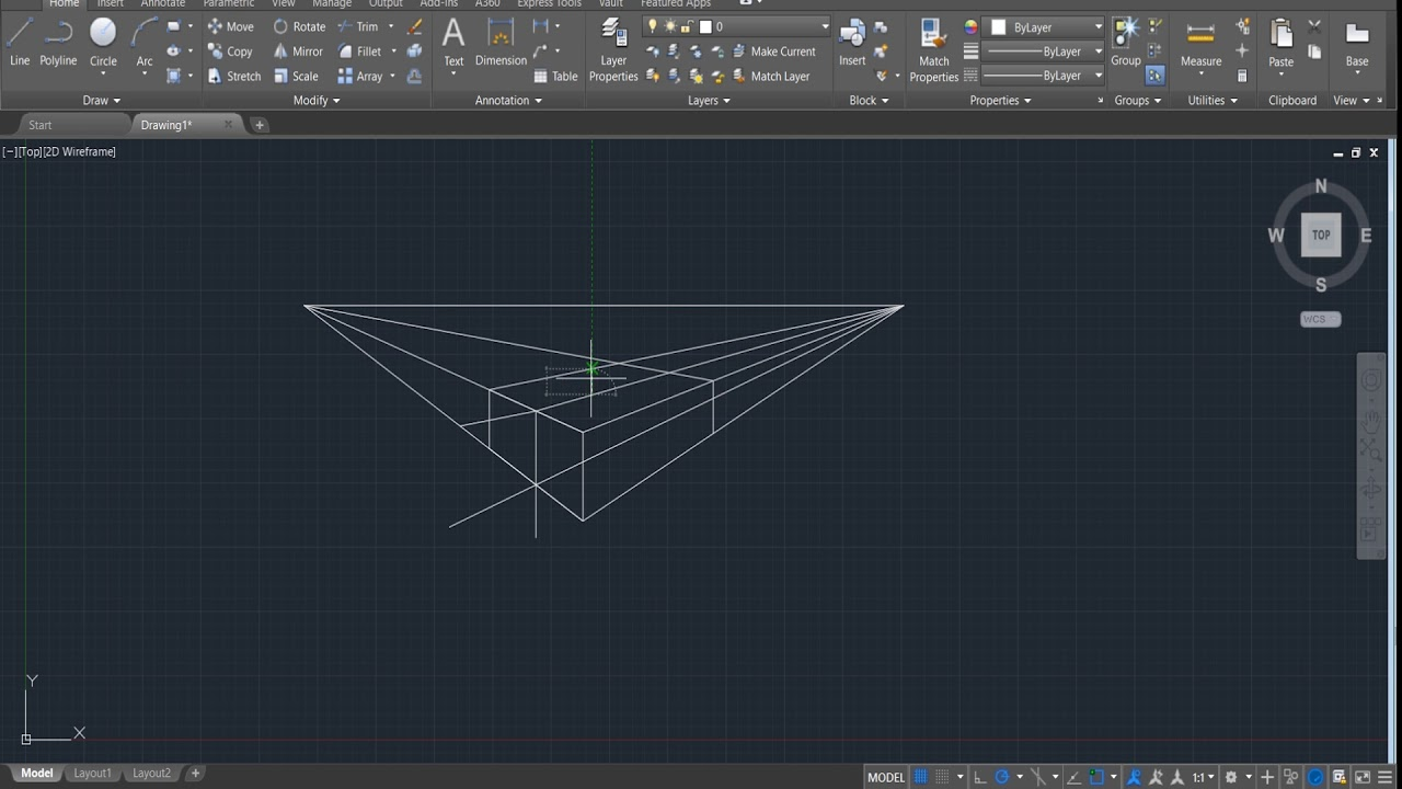 2 Point Perspective Autocad 2022 Parallel Perspective
