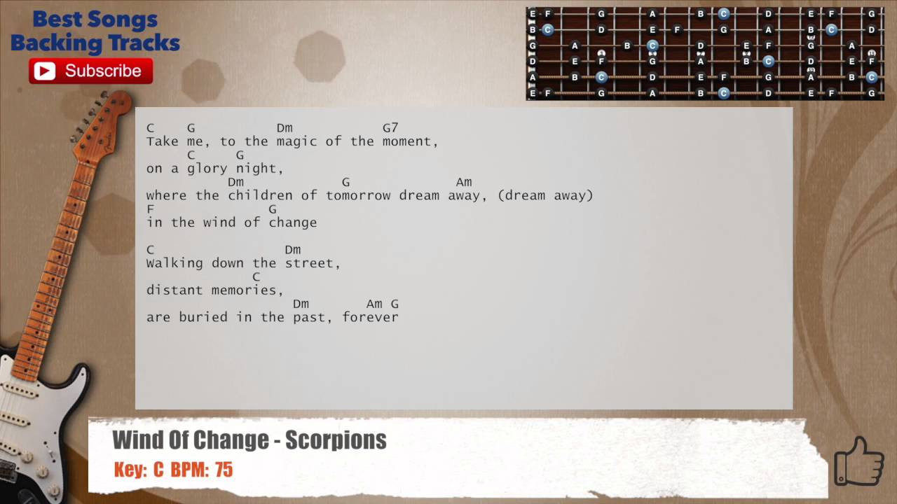 Wind Of Change Scorpions Guitar Backing Track With Chords And