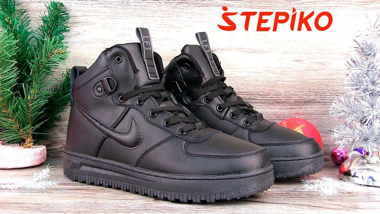31045d55 Мужские зимние кроссовки Nike Air Force Black 0101NFB. Видео обзор ...