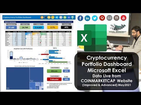 Cryptocurrency Portfolio Dashboard In Microsoft Excel - Data Live From COINMARKETCAP Website - VER2