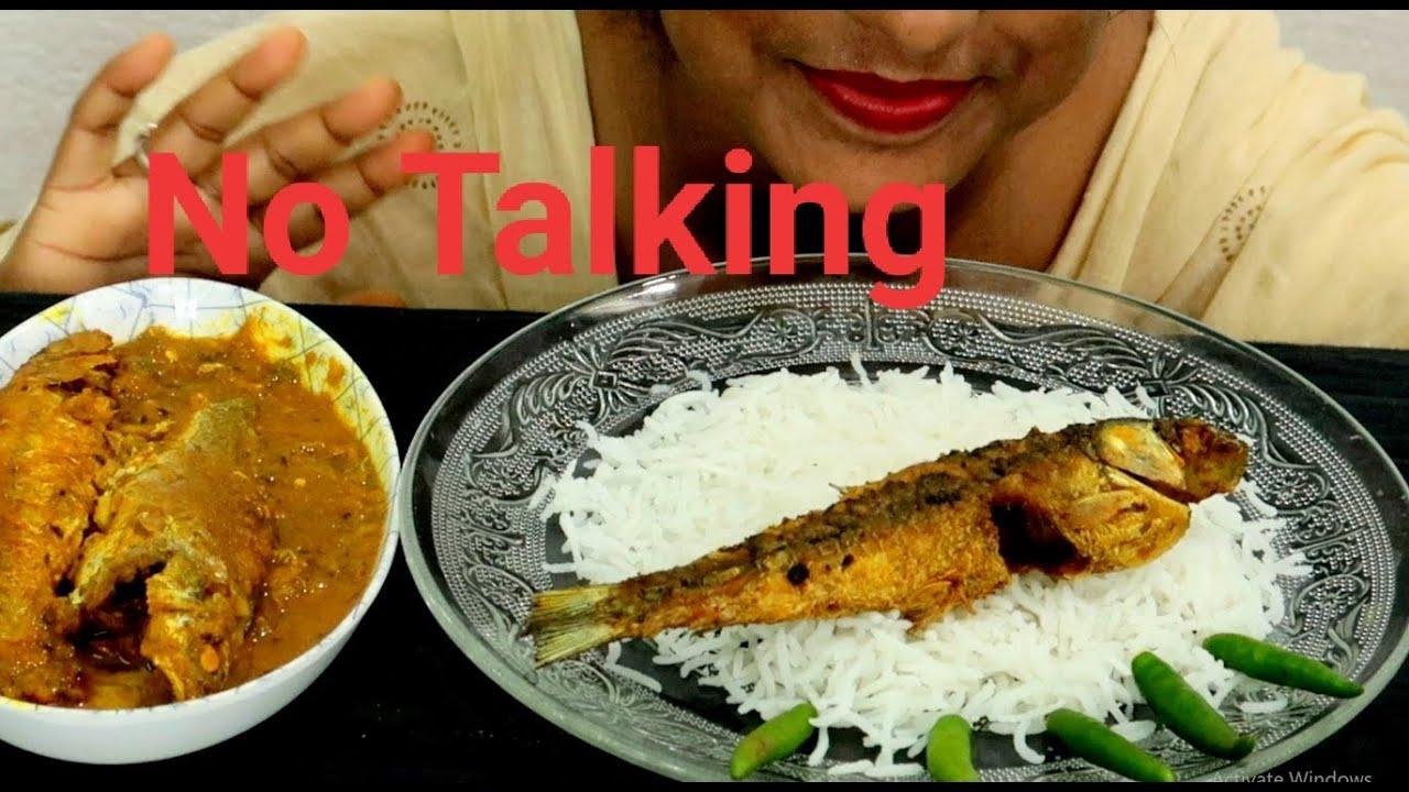 Eating Basmati Rice, Indian Sea Fish Curry, Rui Fried Fish - Eating Indian Lunch - Foodie Dipa