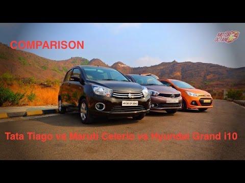 Tata Tiago vs Hyundai Grand i10 vs Maruti Celerio Comparison - Petrol and Diesel - Hinglish
