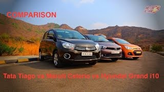 Tata Tiago vs Hyundai Grand i10 vs Maruti Celerio Comparison - Petrol and Diesel - Hinglish