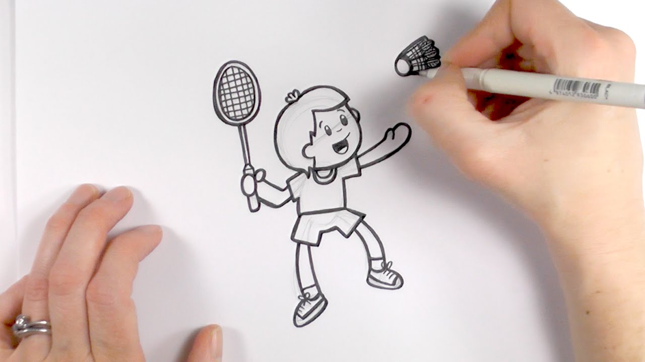 How To Draw A Cartoon Boy Playing Badminton Youtube