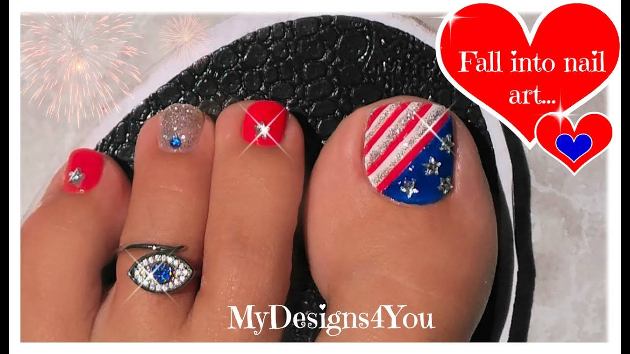 Classic 4th Of July Toenail Art Tutorial Independence Day Pedicure