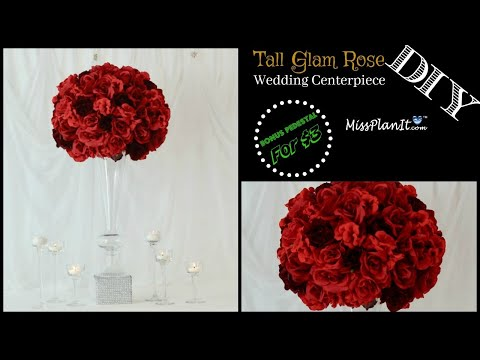 DIY Tall Glam Rose Wedding Centerpiece with Bonus Pedestal | DIY Glam Centerpiece | DIY Tutorial