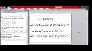 Pre-Requisites5 SAP BO BI 4.1 SP5 Training End to End-What is Repository(Holds) Part2