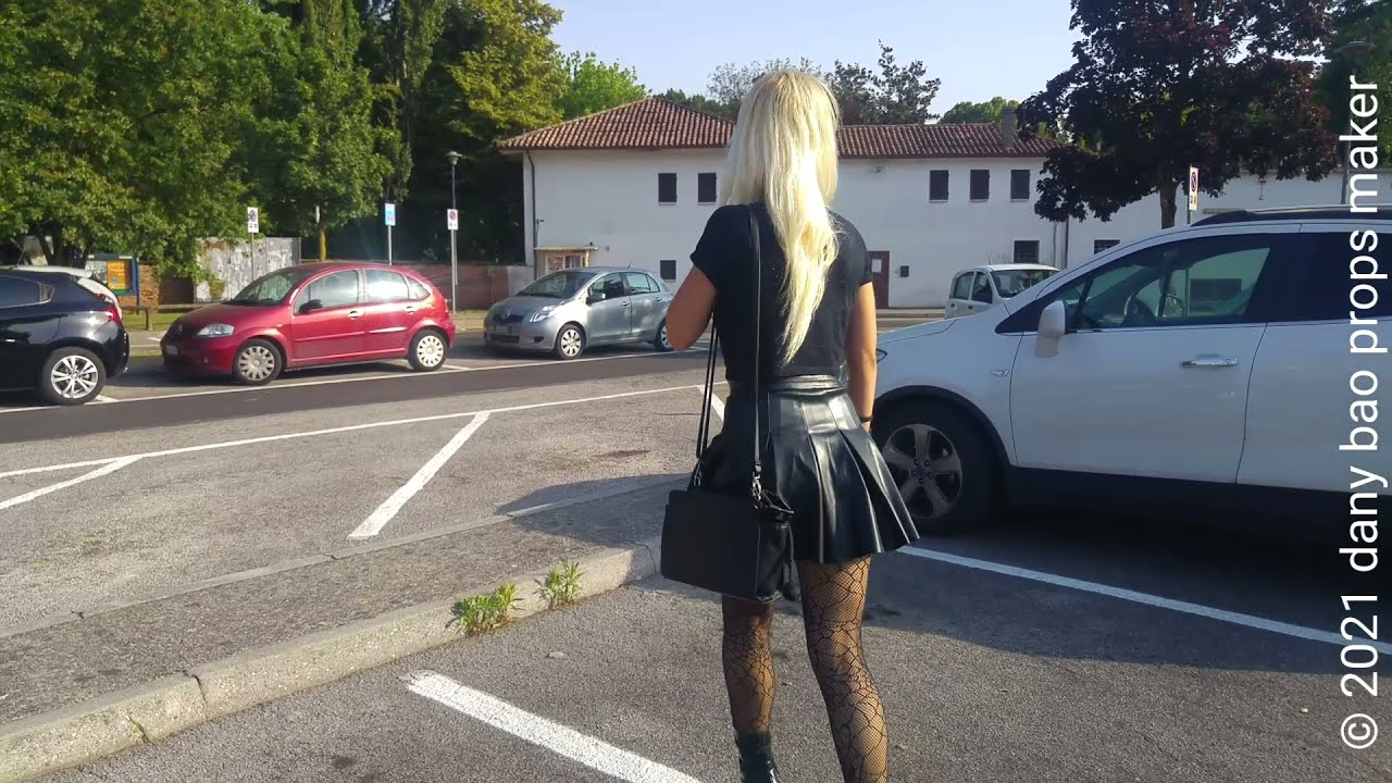 DANA LABO - blonde girl walk in leather mini skirt and leather boots pleaser high heels plateau