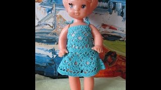 Платье крючком для куклы узором