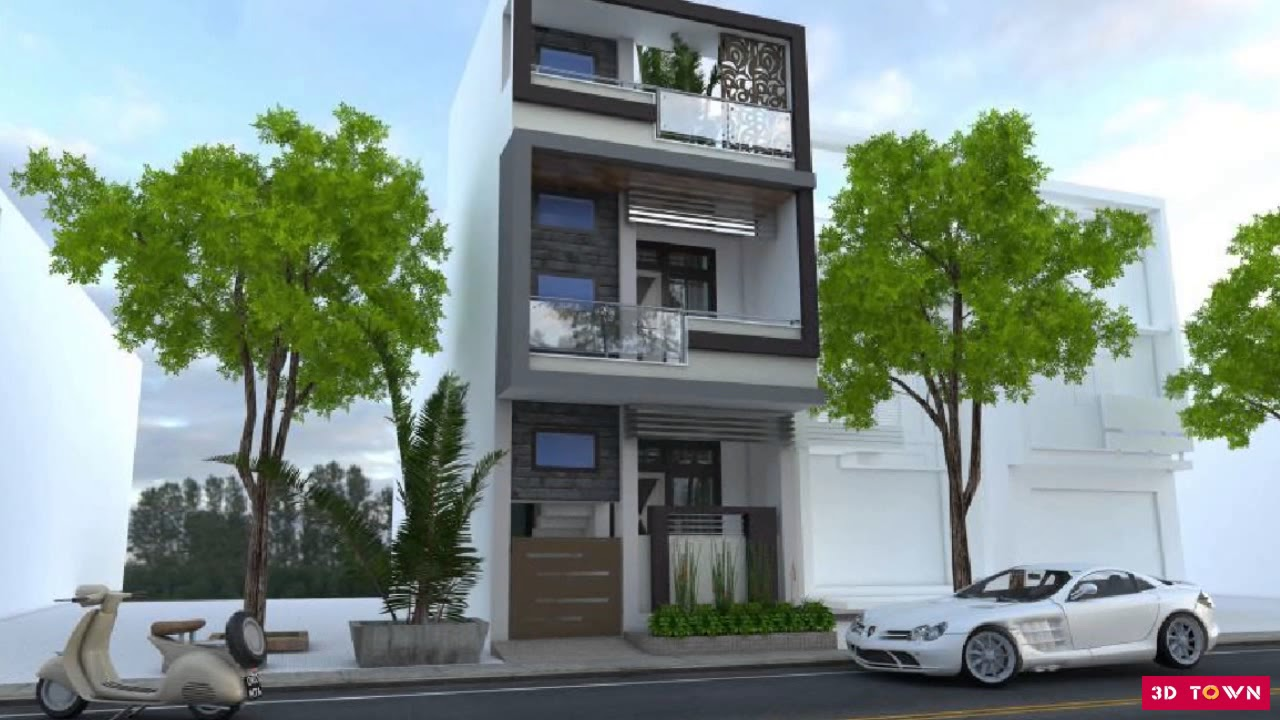 3d Front Elevation Of Small Houses : Small house front elevation design youtube