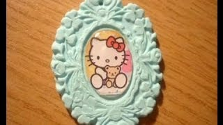 Tutorial cammeo in fimo con sticker :) DIY clay cameo with sticker