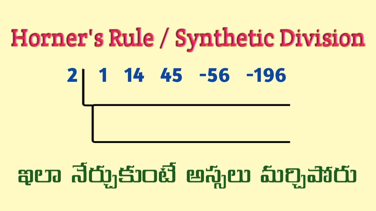 Synthetic Division - Horner's Rule in Telugu || Root Maths Academy
