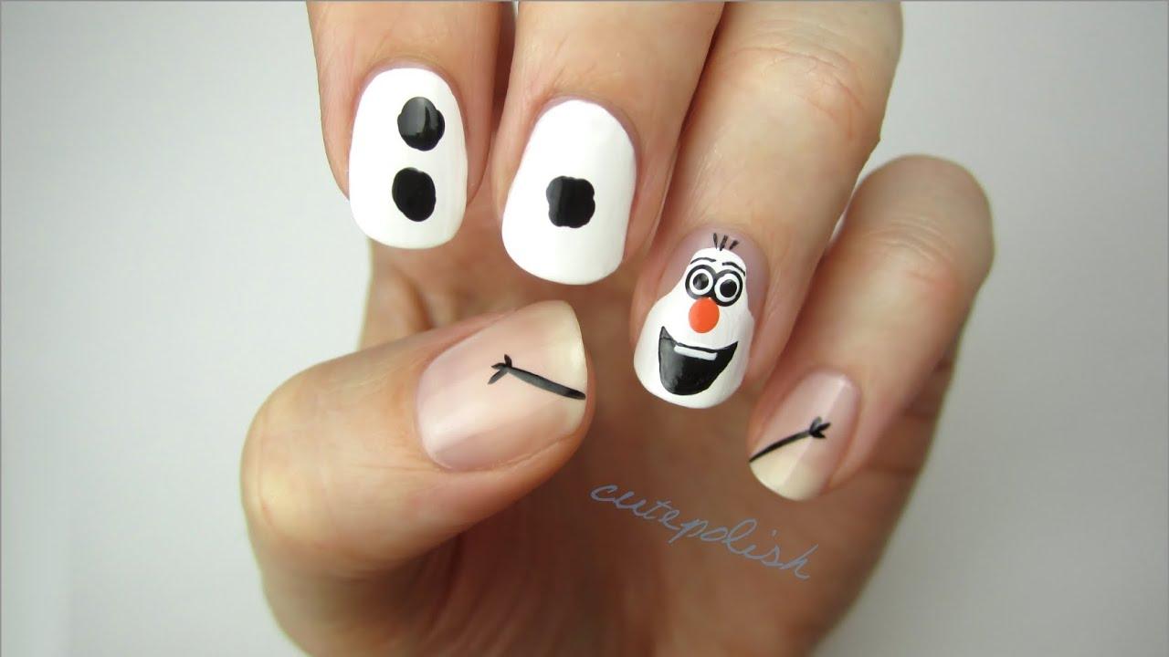 Disney frozen nail art olaf youtube prinsesfo Images