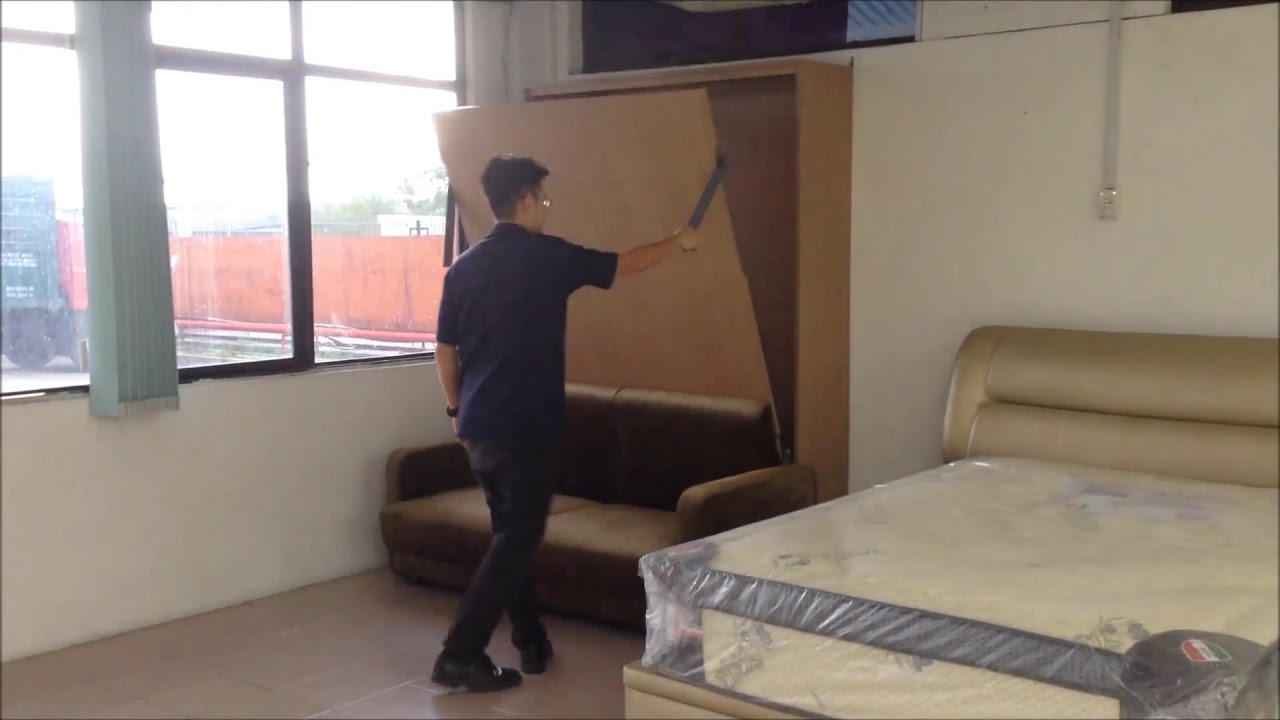 Wall Bed Queen Size With Folding Sofa Youtube