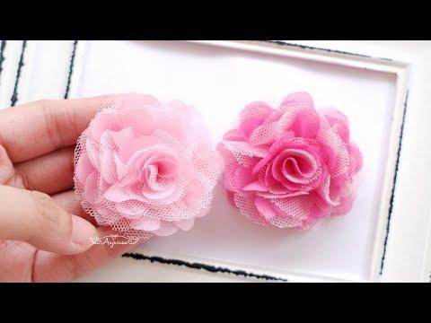 Chiffon Fabric Flower + Tulle Flower DIY