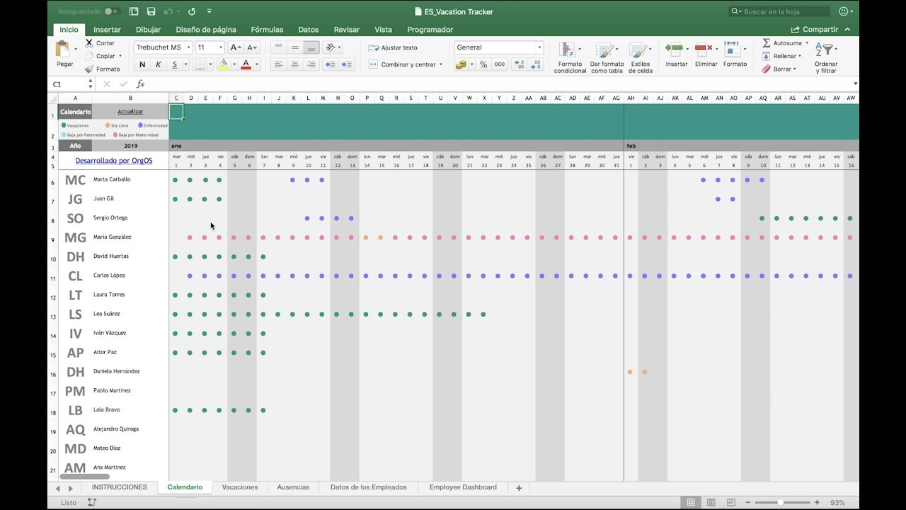 Plantilla Excel Vacaciones Y Ausencias Descárgala Gratis Youtube