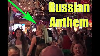 Russian Girls Sing The State Anthem of the Russian Federation Sang At A Bar In Moscow