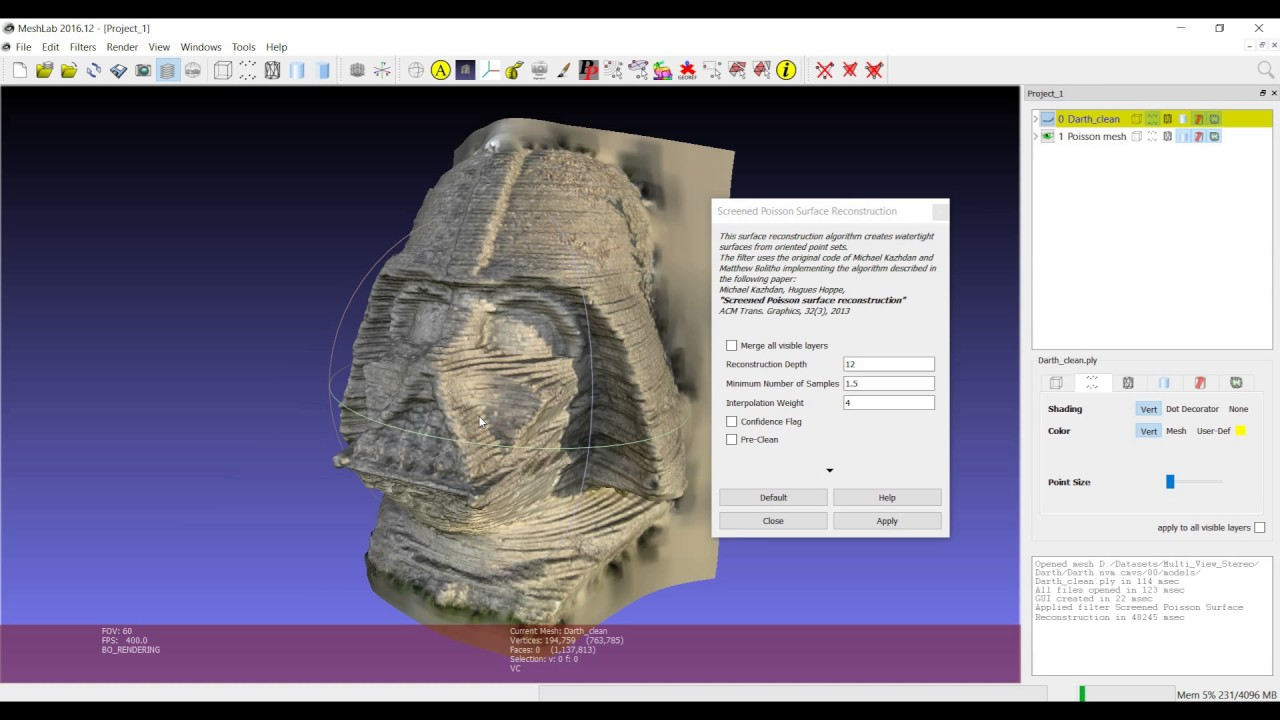 Meshlab 3D processing: Screened Poisson Reconstruction