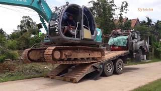 แบคโฮขึ้นรถเทเลอร์  และ  ลงจากรถเทลเลอร์   ปอชิ Rural Thailand