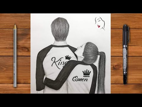 """How To Draw A Cute Couple Hugging Step By Step / """"romantic Couple Hugging Drawing"""" /The Crazy Sketch"""
