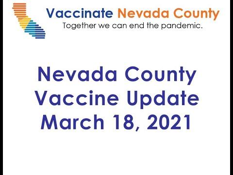 Nevada County Vaccine Update March 18, 2021