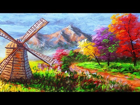 EASY LANDSCAPE with WINDMILL PAINTING TUTORIAL TECHNIQUES | BASIC ACRYLIC ART LESSON FOR BEGINNERS