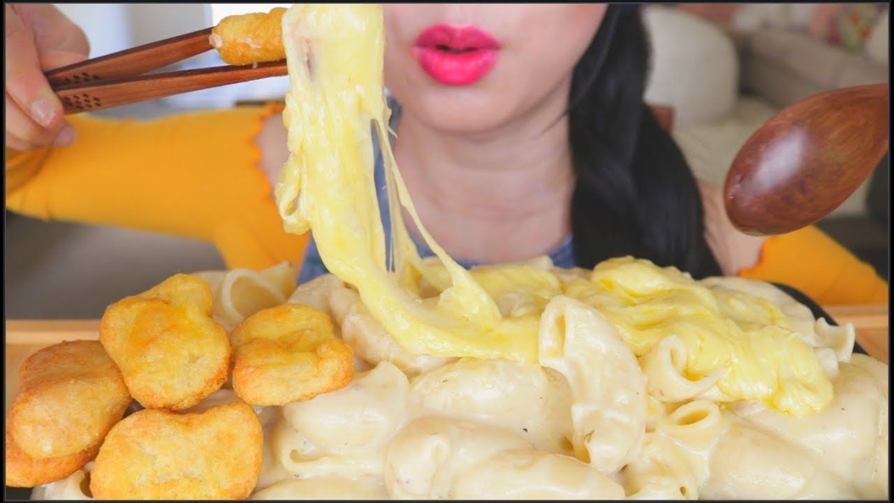 Asmr Giant Creamy Mac Cheese Chicken Nuggets Eating Sounds No Talking