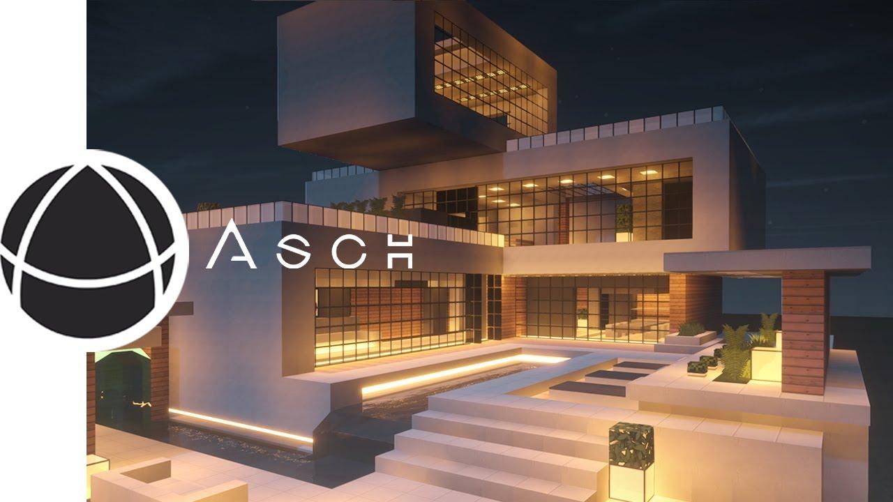 【マインクラフト】プール付きのモダンハウス 建築風景 【TimeLapse 】Modern house architecture with pool.
