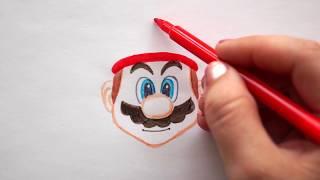 Super Mario malen - Gesicht zeichnen - How to draw Super Mario - как нарисовать супер марио