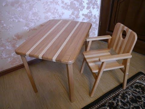 Детский столик из бука. Children's furniture made of wood.