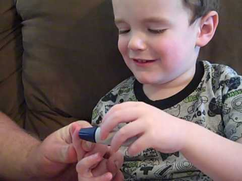 4 year old boy with type 1 diabetes checks blood sugar by himself!