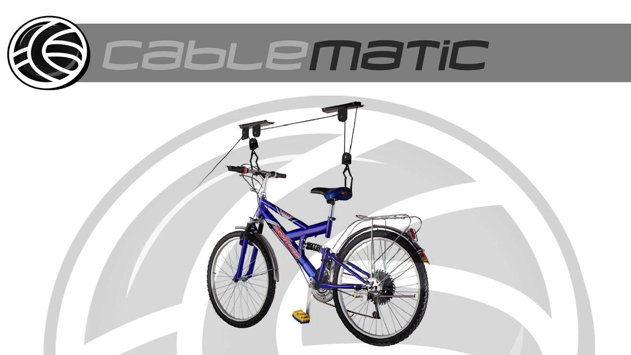 soporte para colgar bicicletas del techo mediante poleas y cuerdas distribuido por cablematic