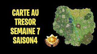 FORTNITE CARTE AU TRÉSOR SEMAINE 7 SAISON 4 SUIVRE LA CARTE TROUVER A PLEASANT PARK + DÉFI BUT