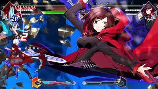BLAZBLUE CROSS TAG BATTLE Es/Ruby vs Blake/Yang/Izayoi