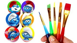 Smurfs Drawing and Painting with Surprise Toys Learn Colors with Papa Smurf Smurfette Smurfblossom