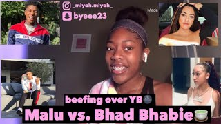 Malu Trevejo and Bhad Bhabie beefing over YoungBoy and Choppa