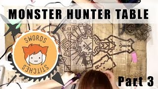 Monster Hunter Table: Burning Designs Into Wood Diy [swords & Stitches] 3/4