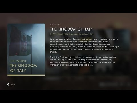 """World History - WW1 - The Kingdom of Italy (BF1 Codex Entries Section: """"The World"""")"""