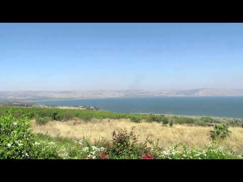 A view from the Mount of Beatitudes on the Sea of ​​Galilee, the Golan Heights and Tiberias