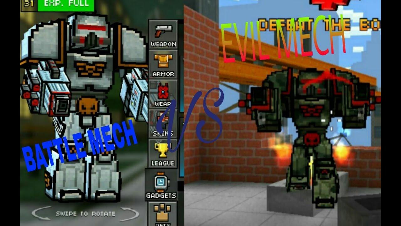 pixel gun 3d battle mech vs evil mech youtube