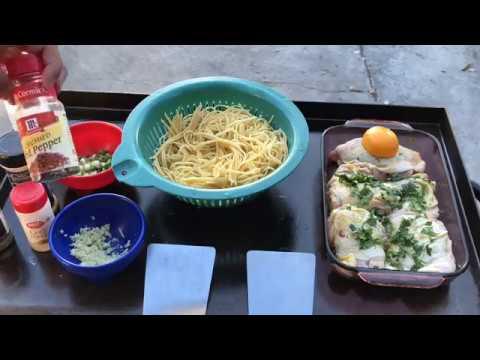♨️ BlackStone Griddle Menu: Lemon Chicken with Cilantro Served on Pasta