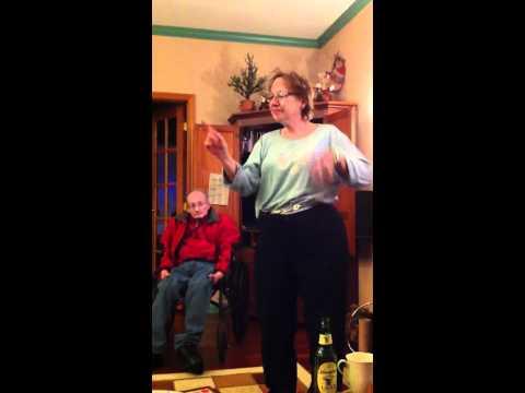 Mom playing Christmas charades